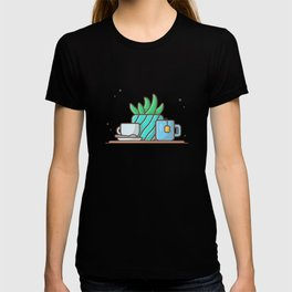 Hot tea with plant and hot coffee T-shirt