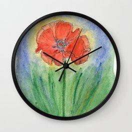Red Poppy-2 (Papaver rhoeas) Wall Clock