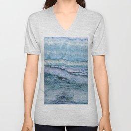Mystic Stone Aqua Blue Unisex V-Neck