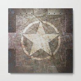 Army Star on Distressed Riveted Metal Door Metal Print