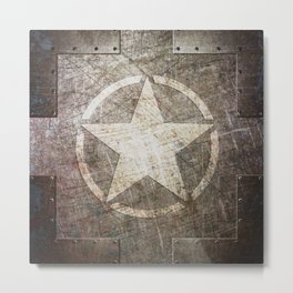 Army Star on Distressed Riveted Metal Door Metal Print