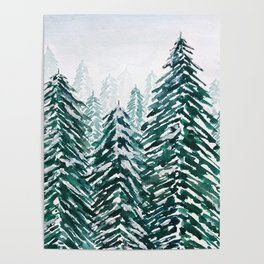 snowy pine forest in green Poster