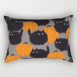 cats and pumpkin halloween wallpaper Rectangular Pillow