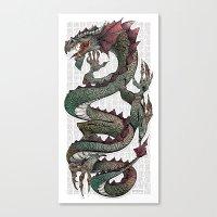 dragon Canvas Prints featuring dragon by Erdogan Ulker