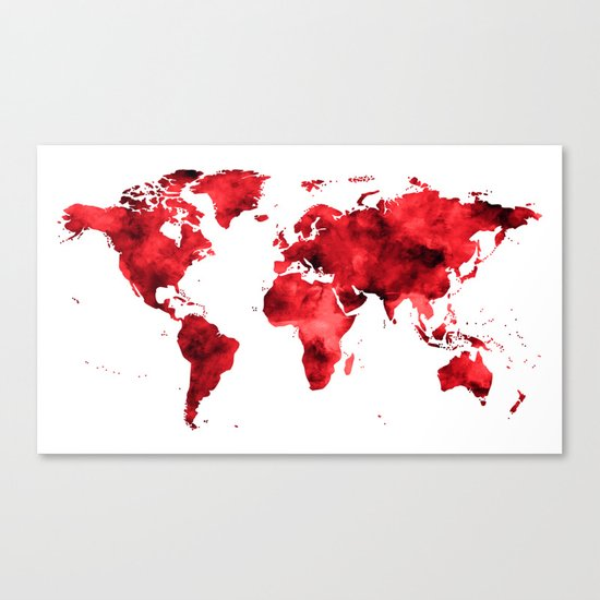 World Map Red Paint Canvas Print