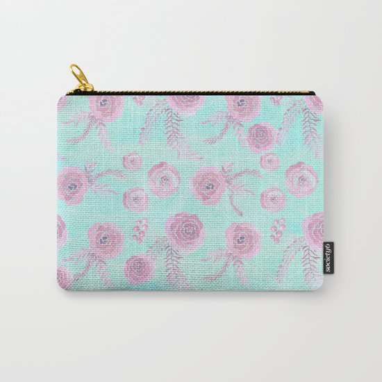 Peony Pattern Pink And Mint Carry-All Pouch