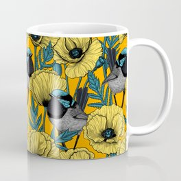 Fairy wren and poppies in yellow Coffee Mug
