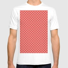 Small scallops in fabulous fiesta red White MEDIUM Mens Fitted Tee
