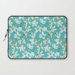 Citrus blooming tiny flowers in a sky blue backgrund Laptop Sleeve