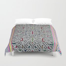 Song to Bring Blessings to a Marriage - Traditional Shipibo Art - Indigenous Ayahuasca Patterns Duvet Cover