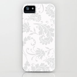 Vintage chic silver white floral damask iPhone Case