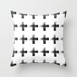 Smudgy Painted Cross 2 Minimalist Monochromatic Black and White Pattern Throw Pillow