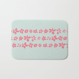 Daisy Chain in Petal Pink and Mint Green Bath Mat