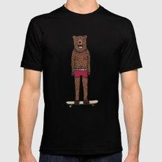 Bear + Skateboard Black MEDIUM Mens Fitted Tee
