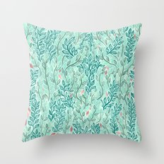 Blue Leaves Throw Pillow