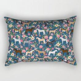 Horse Florals - navy Rectangular Pillow