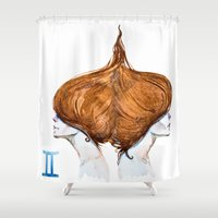 gemini Shower Curtains featuring Gemini by Aloke Design