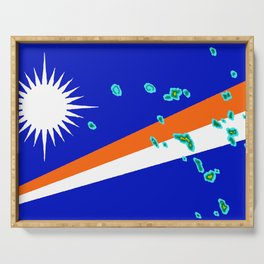 Marshall Islands Flag with Marshallese Map Serving Tray