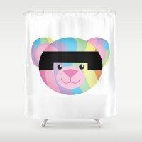 narnia Shower Curtains featuring Classic Rainbow Bondage Bear by YOSH FRIDAY