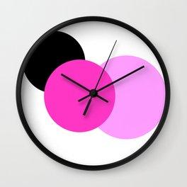 Pink Orchid Black Mod Circles Wall Clock