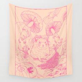 Hamster In Wonderland Pink Version Wall Tapestry