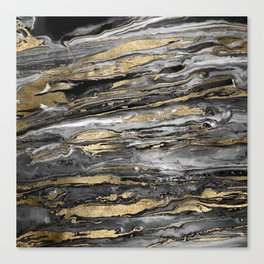 Stylish gold abstract marbleized paint Canvas Print