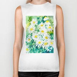Chamomile Flowers, Herval design Field flowers wild flowers floral art Biker Tank