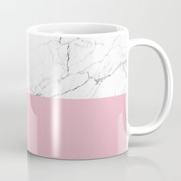 blush pink and white marble color block Coffee Mug