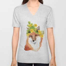 fox with flower crown Unisex V-Neck