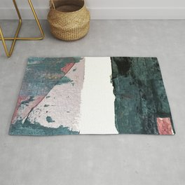 Between Us: a minimal, abstract mixed-media piece in blues, muted purple, and pinks Rug