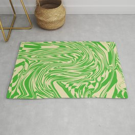 Psychedelic Warped Marble Wavy Checkerboard in Green and Cream Rug