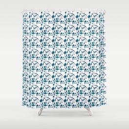 Blue Plankton Pattern Shower Curtain