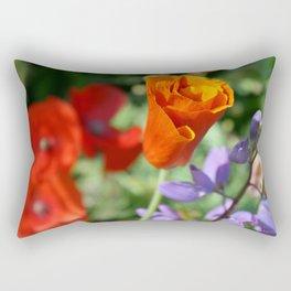 Orange Poppy Unfurling in Haines, Alaska by Mandy Ramsey Rectangular Pillow