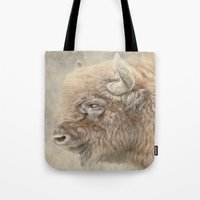 bison Tote Bags featuring Bison by Peaky40
