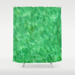 Bright green swirls doodles Shower Curtain