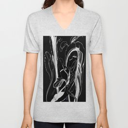 Plant in Blue Marker - Leaf of Life Miracle Leaf - White on Black Unisex V-Neck
