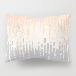 Marble and Geometric Diamond Drips, in Grey and Peach Pillow Sham