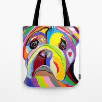 english bulldog Tote Bags featuring Bulldog by EloiseArt