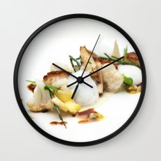 Scalops with mushrooms, cauliflower, coconut and sea asparagus Wall Clock