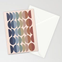 Geometric Shape Patterns in Vintage Multicolor Earthy themed (Moon Phase Abstract) Stationery Cards