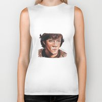 sam winchester Biker Tanks featuring Jared Padalecki/Sam Winchester by Londonhazz