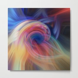 Colorful artistic print with rays of fractal lights Metal Print