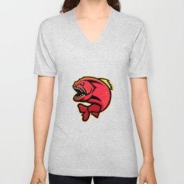 Piranha Sports Mascot Unisex V-Neck