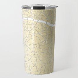 Gold on White London Street Map II Travel Mug
