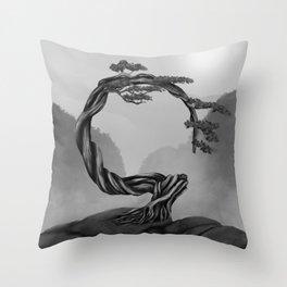 Enso Zen Circle Bonsai Tree - grayscale Throw Pillow