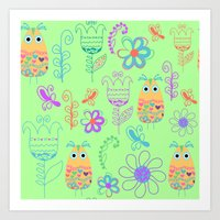 owls Art Prints featuring Owls by luizavictoryaPatterns
