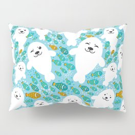 White cute fur seal and fish in water Pillow Sham