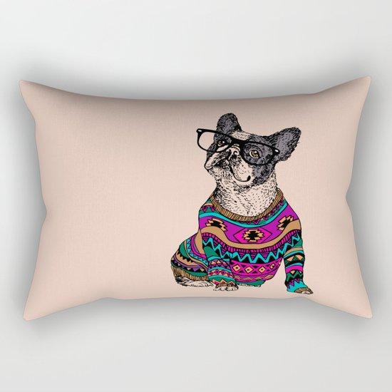 hipster frenchie Rectangular Pillow