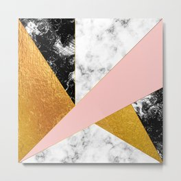 Golden foil and marble Metal Print