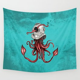 Squid with Diving Helmet Wall Tapestry